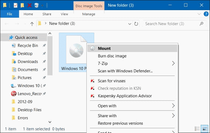 correction de l'option de montage manquante dans le menu contextuel de Windows 10