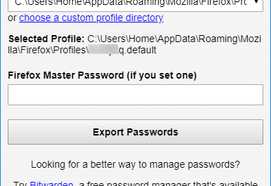 export firefox passwords to CSV or JSON file in Windows 10