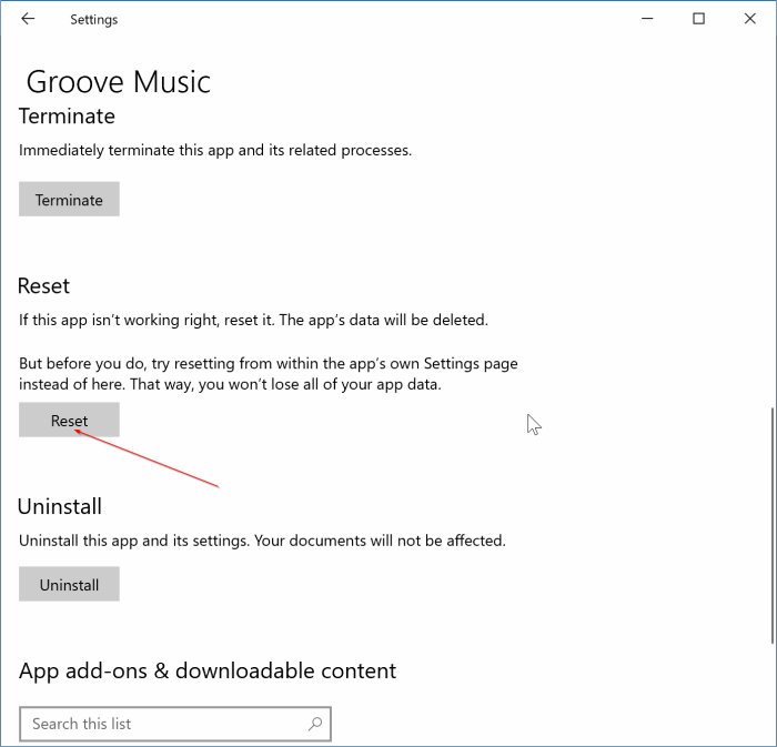 réinitialiser l'application Groove Music dans Windows 10 pic2