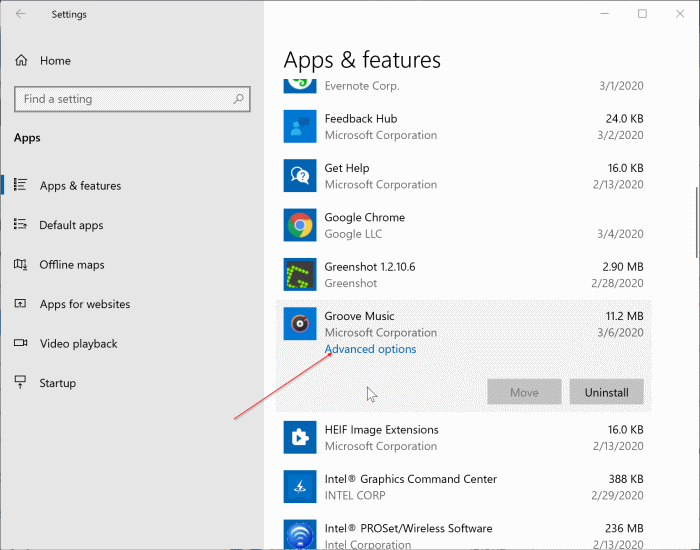 réinitialiser l'application Groove Music dans Windows 10 pic1