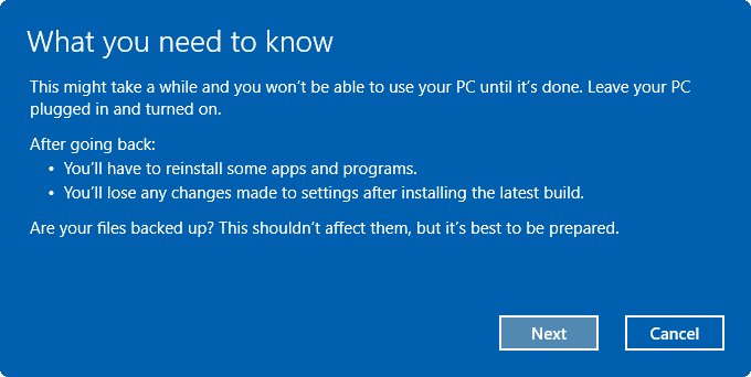 désinstaller Windows 10 Anniversary Update pic4