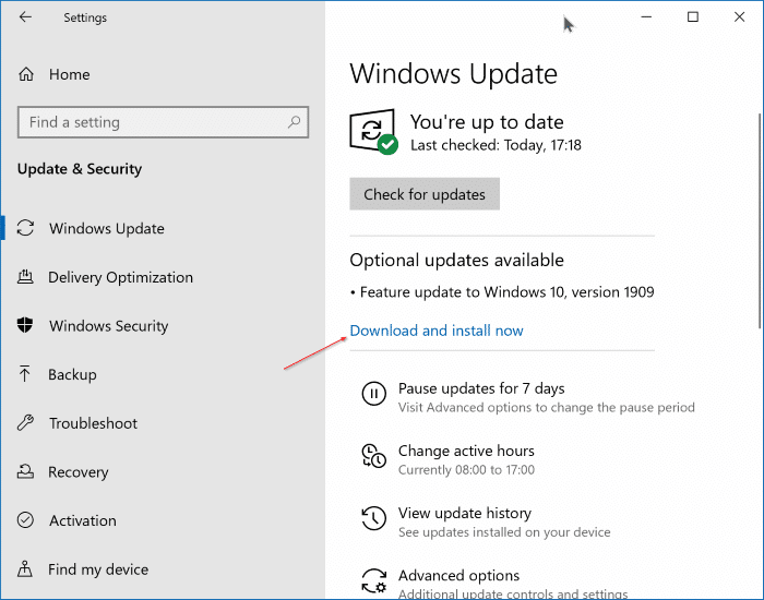 Mettre à niveau vers Windows 10 version 1909 pic1