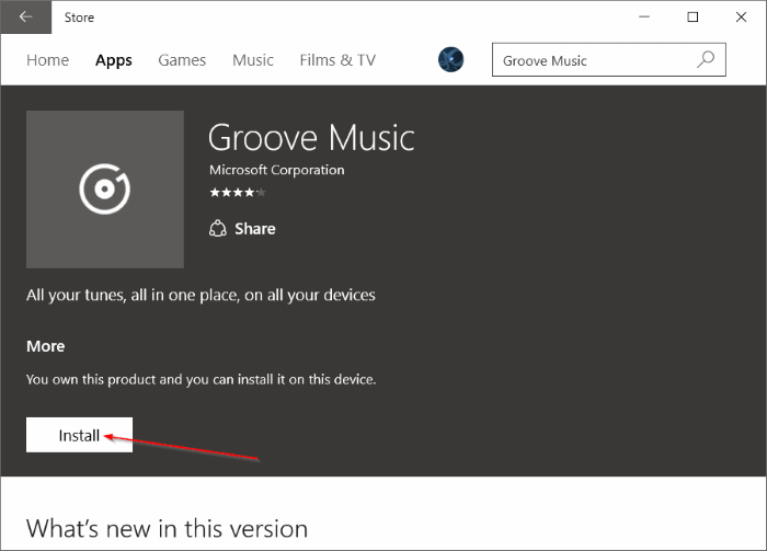 Réinstaller Groove Music dans Windows 10 pic9