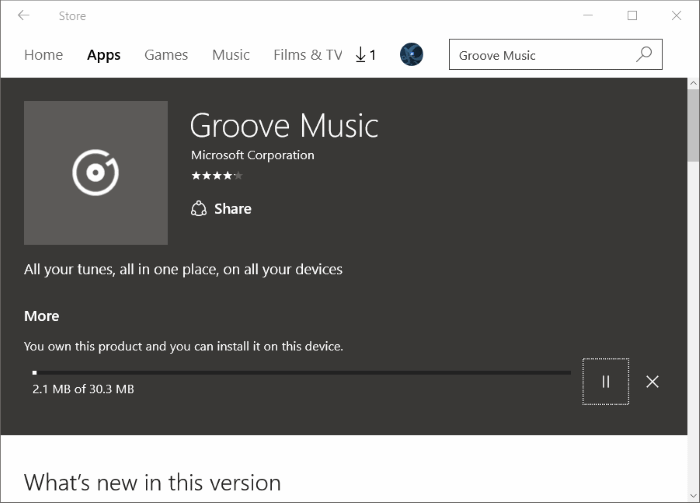 Réinstaller Groove Music dans Windows 10 pic9.1