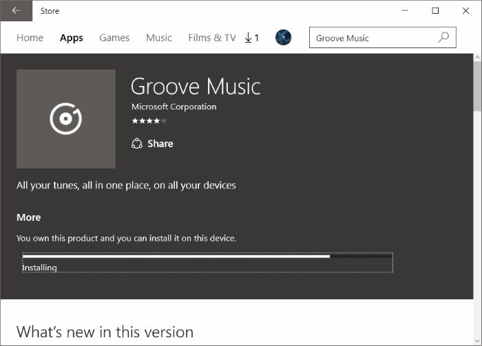 Réinstaller Groove Music dans Windows 10 pic9.2