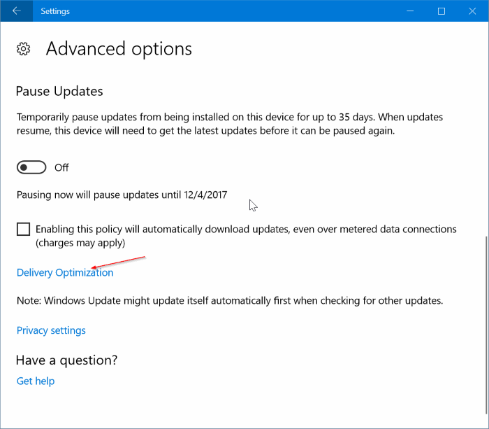 limiter l'utilisation de la bande passante de Windows Update dans Windows 10 pic2