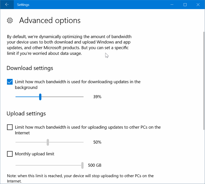 limiter l'utilisation de la bande passante de Windows Update dans Windows 10 pic4