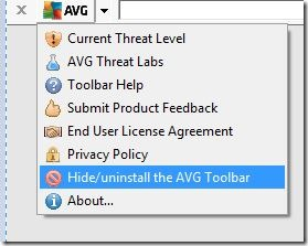 Windows de la barre d'outils AVG