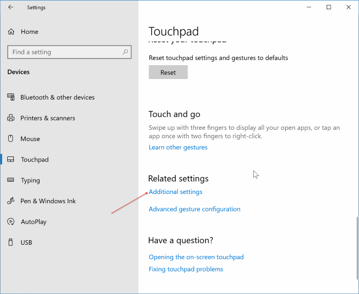 Inverser la direction de défilement du pavé tactile dans Windows 10