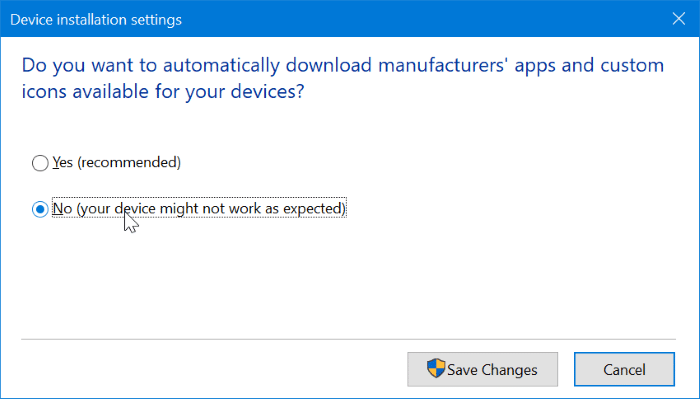 Empêcher Windows 10 d'installer automatiquement l'application d'imprimante et de scanner Pic2