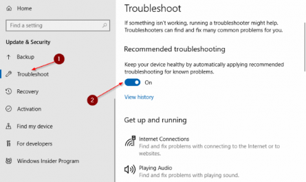 Automatically apply recommended troubleshooting for known problems in Windows 10