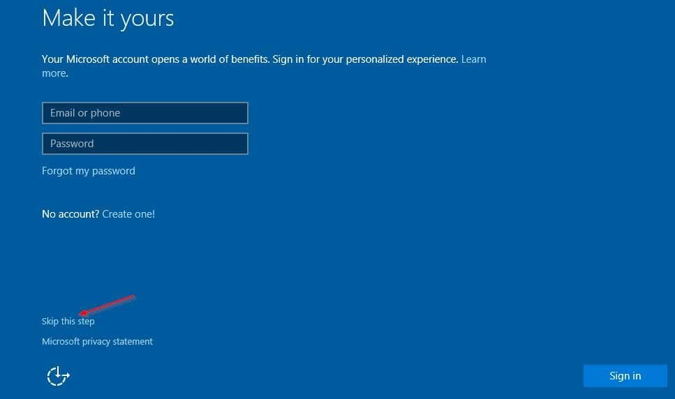 Installez Windows 10 sans compte Microsoft