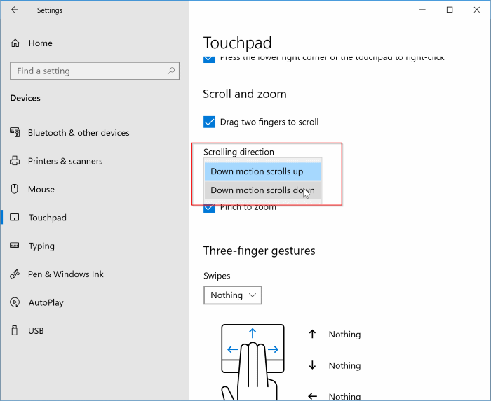 Inverser la direction de défilement du pavé tactile dans Windows 10 pic1