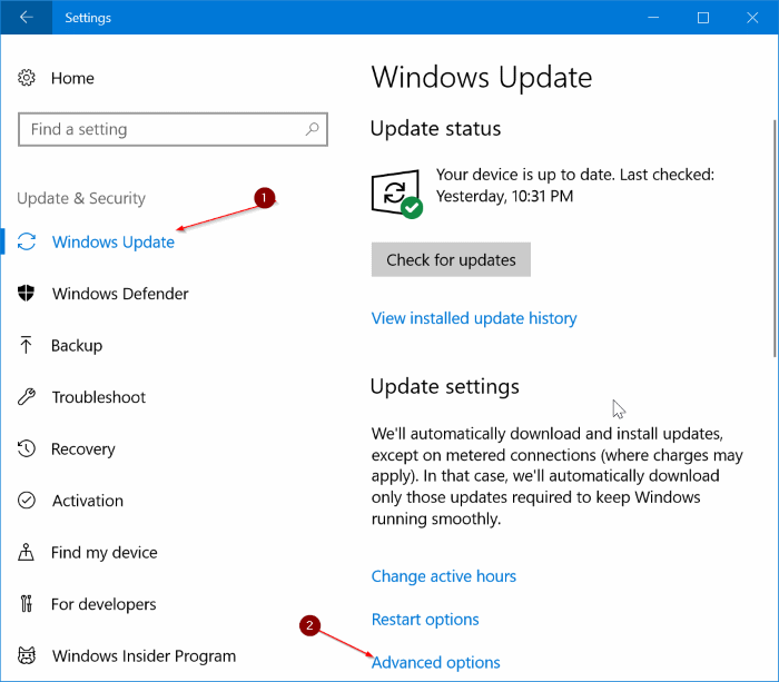 limiter l'utilisation de la bande passante de Windows Update dans Windows 10 pic1
