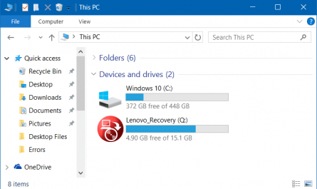 Comment masquer la partition de recuperation sous Windows 10