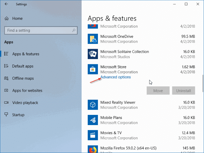 réinstaller l'application Store dans Windows 10