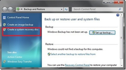 Creer un disque de reparation systeme dans Windows 7