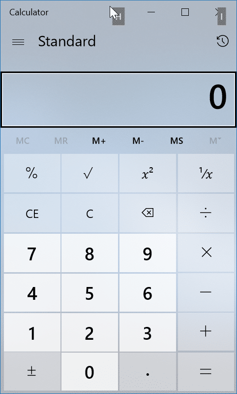Raccourcis clavier pour l'application de calculatrice Windows 10