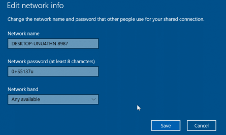 change mobile hotsport name and password in Windows 10 pic3