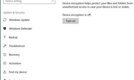 device encryption in Windows 10 home pic1
